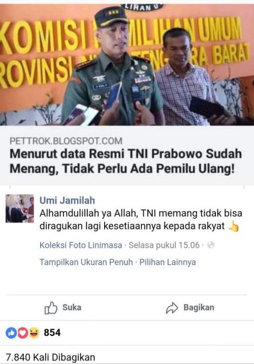 Hoaks Artikel Menurut Data Resmi TNI Prabowo Sudah Menang, Tidak Perlu Ada Pemilu Ulang (foto: Ist)
