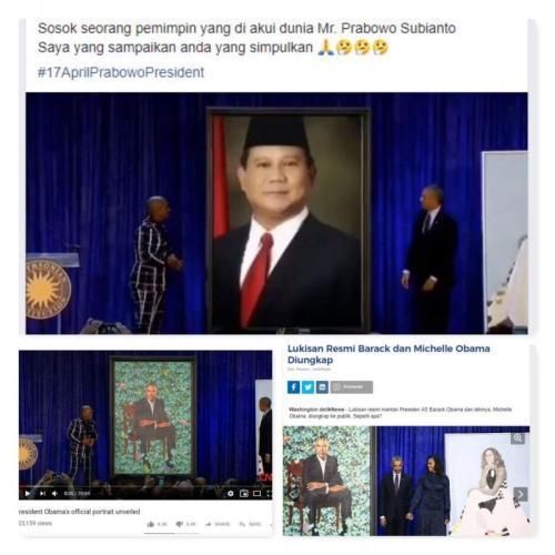 Hoaks Obama Perlihatkan Lukisan Prabowo (foto: Ist)