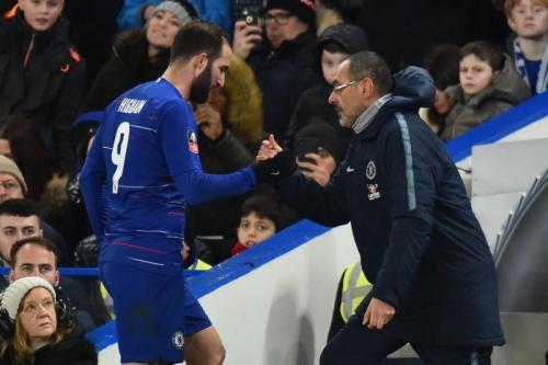 Gonzalo Higuain dan Maurizio Sarri dua kali bekerja sama di Napoli dan Chelsea