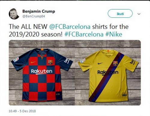 Jersey baru Barcelona untuk musim 2019-2020