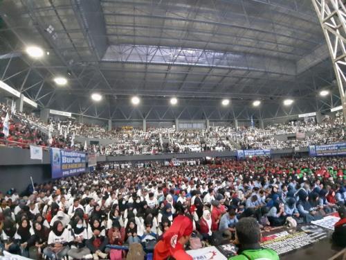 Peringatan May Day 2019 di Tennis Indoor Senayan (foto: Fahreza Rizky/Okezone)