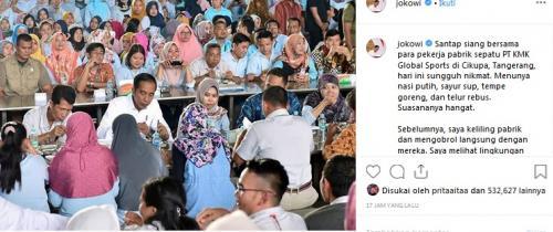 Jokowi Makan Bareng Buruh