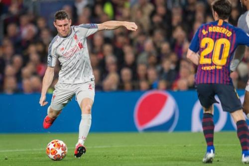 James Milner saat di laga Liverpool vs Barcelona