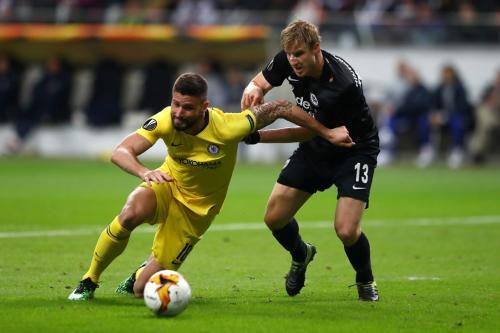 Aksi Olivier Giroud saat membela Chelsea