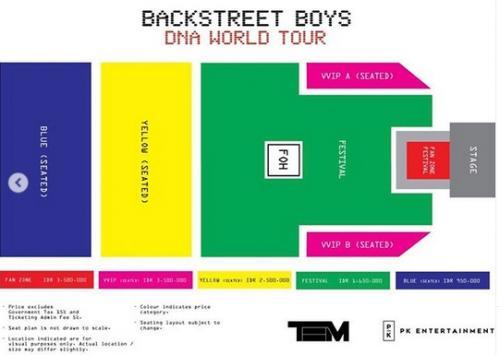 Seat plan dan tiket Backstreet Boys