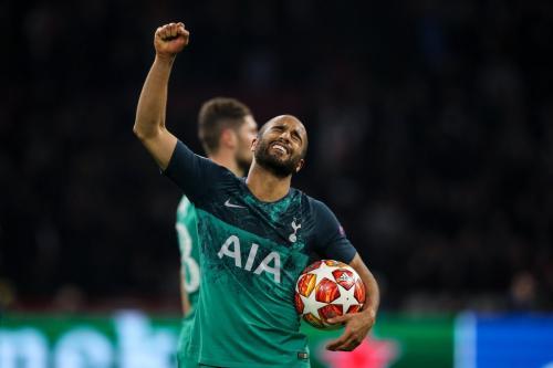 Ekspresi Lucas Moura usai cetak gol untuk Tottenham