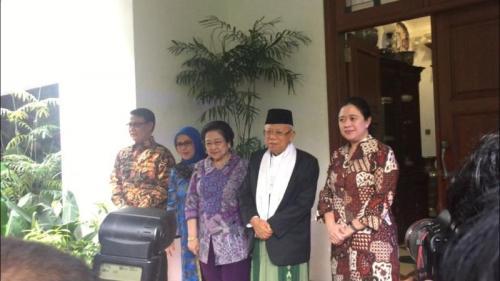 Ketum PDIP Megawati Soekarnoputri bersama jajaran bertemu wapres terpilih KH Ma'ruf Amin. (Foto: Sarah Hutagaol/Okezone)