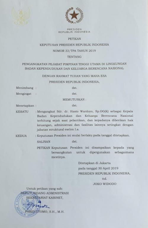 SK Bupati Kulonprogo Jadi Kepala BKKBN (foto: Ist)