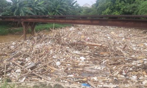 Sampah Bambu di Sungai Cikeas
