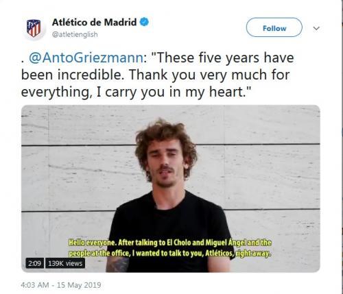 Antoine Griezmann memutuskan untuk pergi meninggalkan Atletico