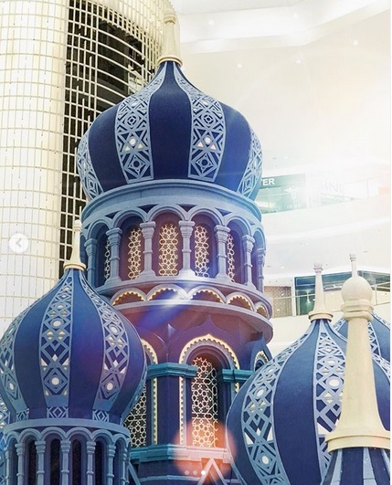 Dekorasi masjid berwarna biru
