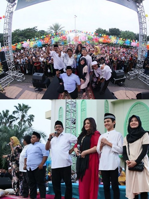 Kemeriahan acara buka puasa Si Doel The Movie 2 di Bekasi, pada 18 Mei 2019. (Foto: Instagram/Falcon Pictures)