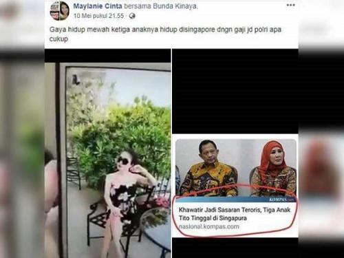 Postingan akun Maylanie Cinta menyandingkan video dengan foto Tito Karnavian dan tangkapan layar berita yang berjudul