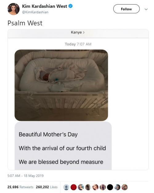 Kim Kardashian akhirnya mengumumkan nama anak keempatnya, pada 18 Mei 2019. (Foto: Twitter)