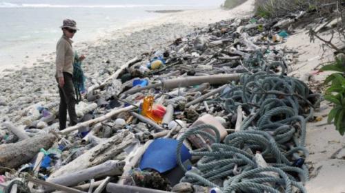 Puing sampah di Pulau Cocos. (Silke Stuckenbrock)