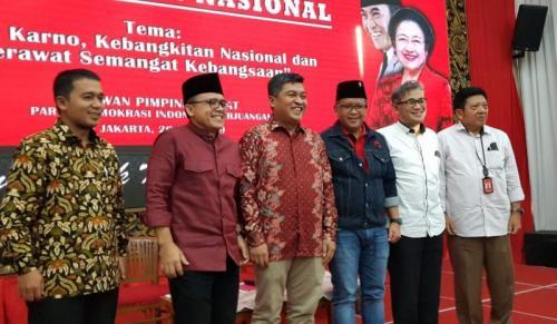 Sekjen PDIP Hasto Kristiyanto Membuka Mimbar Kebangsaan Bertema Bung Karno, Kebangkitan Nasional, dan Merawat Semangat Kebangsaan di DPP PDIP, Jakarta (foto: Fahreza R/Okezone)