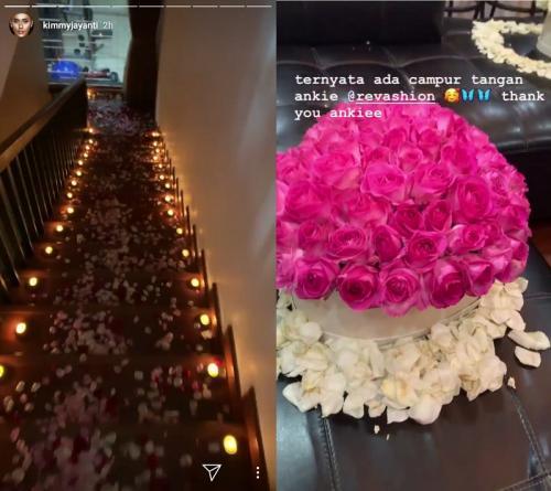 Model Kimmy Jayanti mendapatkan kejutan romantis dari sang suami di hari ulang tahun pernikahan mereka yang pertama. (Foto: Instagram)