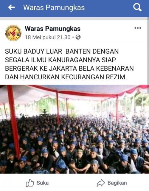 Cek Fakta Baduy Luar ke Jakarta untuk Menghancurkan Kecurangan Rezim (foto: Ist)