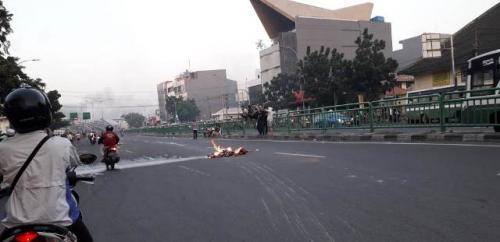 Situasi Aksi 22 Mei di Tanah Abang. (Foto: Arie Dwi Satrio/Okezone)