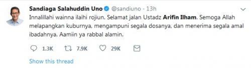 Sandiaga twitter soal Arifin Ilham Wafat (Twitter)