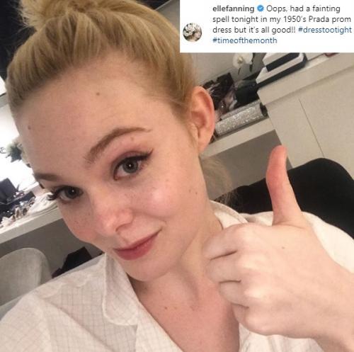 Elle Fanning mengaku, pingsan di event Festival Film Cannes karena gaun yang dikenakannya terlalu ketat. (Foto: Instagram)