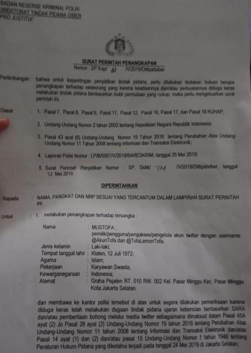 Surat perintah penangkapan Mustofa Nahrawardaya. (Foto: Ist)