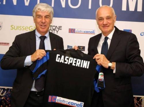 Antonio Percassi bersama Pelatih Atalanta Gian Piero Gasperini