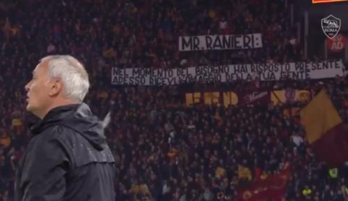 Suporter AS Roma membentangkan spanduk berisi kalimat menyentuh untuk Claudio Ranieri (Foto: AS Roma/Twitter)
