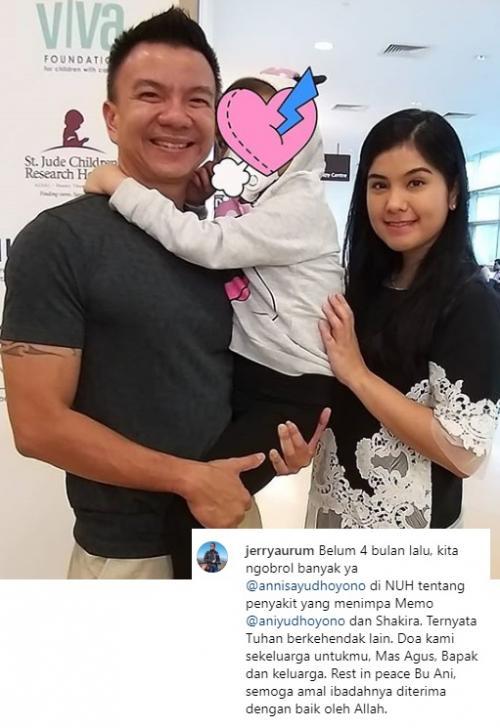Jerry Aurum mengaku, dirinya dan Annisa Pohan sempat membahas penyakit Ani Yudhoyono sebelum ajal menjemput. (Foto: Instagram/Jerry Aurum)