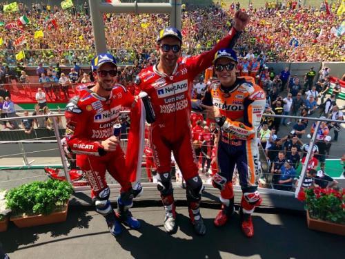 Andrea Dovizioso, Danilo Petrucci dan Marc Marquez (Foto: MotoGP)