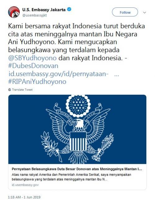 Dubes AS soal Ani Yudhoyono (Twitter)