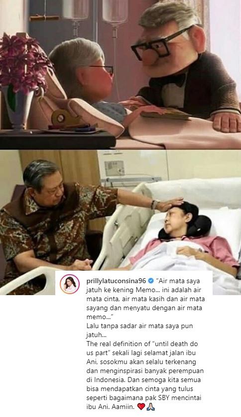 Prilly Latuconsina mengunggah kesetiaan SBY dalam mendampingi mendiang Ani Yudhoyono. (Foto: Instagram)