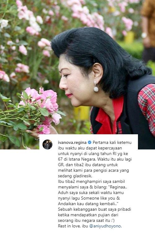 Regina Ivanova mengenang kembali pertemuan perdananya dengan mendiang Ani Yudhoyono. (Foto: Instagram/Regina Ivanova)
