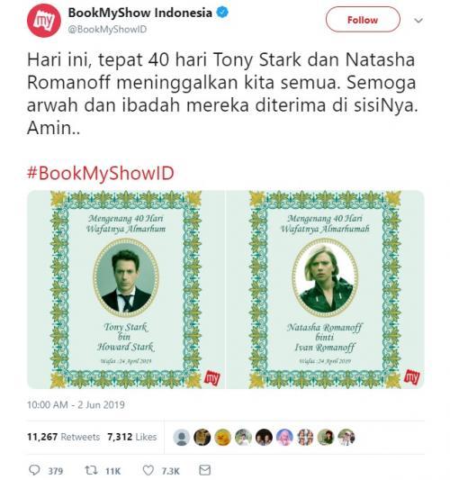 Beredar buku yasin Tony Stark dan Natasha Romanoff di media sosial. (Foto: Twitter/BookMyShow Indonesia)