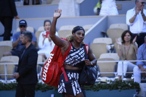 Serena Williams saat tampil di Prancis Open 2019