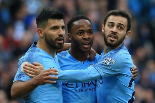 Sergio Aguero, Raheem Sterlin, dan Bernardo Silva (Foto: Premier League)