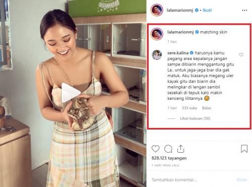 Cara Marion Jola memegang ular dalam unggahan terbarunya membuat presenter Sere Kalina berkomentar. (Foto: Instagram)