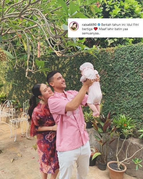 Raisa bersyukur bisa merayakan Lebaran tahun ini bersama Hamish Daud dan Baby Kalina. (Foto: Instagram)