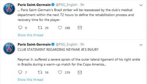 Pernyataan resm PSG soal Neymar (Foto: Twitter/@PSG_English)