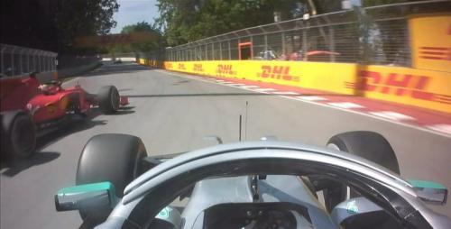 Lewis Hamilton harus melambatkan mobilnya karena ulah Sebastian Vettel (Foto: F1/Twitter)