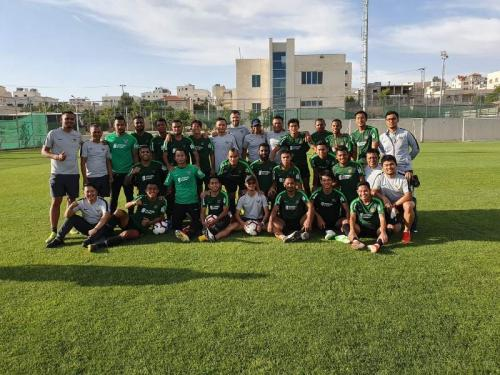 Pasukan tim nasional Indonesia yang datang ke Yordania (Foto: PSSI)
