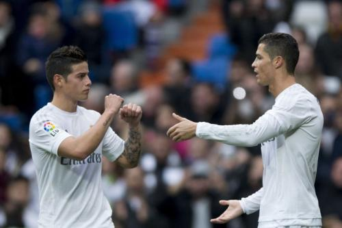 Cristiano Ronaldo dan James Rodriguez (Foto: Getty Images)