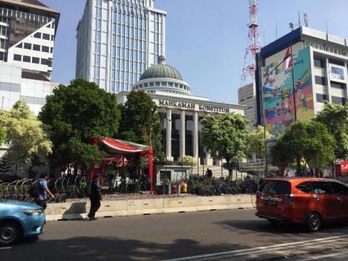 Jalan Medan Merdeka depan MK. (Foto: Sarah Hutagaol/Okezone)