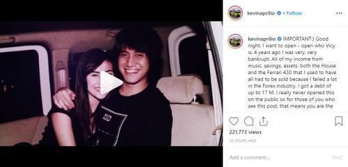 Kevin Aprilio curhat tentang sosok yang menemaninya di saat susah. (Foto: Instagram)