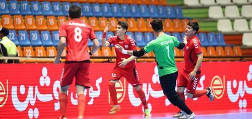 Selebrasi penggawa Timnas Futsal Afghanistan usai cetak gol ke gawang Indonesia