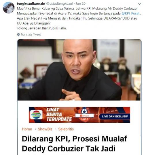 Tengku Zulkarnain mempertanyakan alasan KPI melarang penayangan prosesi mualaf Deddy Corbuzier. (Foto: Twitter)