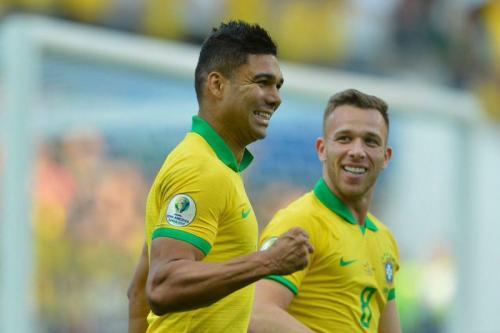 Casemiro mencetak gol di laga Timnas Brasil vs Peru pada pertandingan Copa America