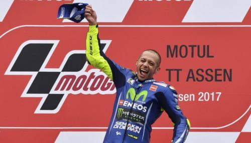 Valentino Rossi menang di MotoGP Belanda 2017. (AP Photo)