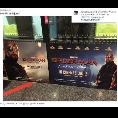 Kesalahan konyol pada poster Spider-Man: Far From Home ini membuat Samuel L Jackson marah besar. (Foto: Instagram)