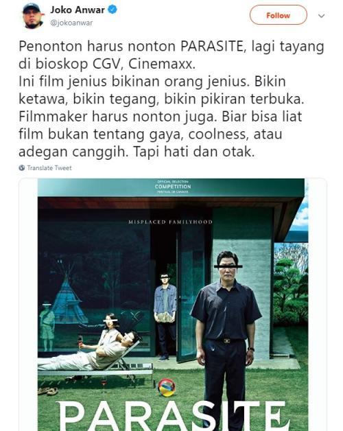 Joko Anwar berikan dukungannya pada film Korea Parasite. (Foto: Twitter)